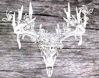 Boho Deer Skull With Flowers Gypsy Decal Jeep Decal Truck Decal - Jeep vinyls for yeti cups