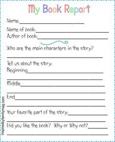 book report forms
