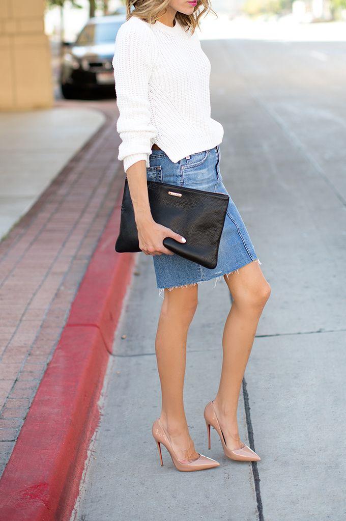 16 Fresh Ways to Wear a Denim Skirt   Denim skirt and Hello ...