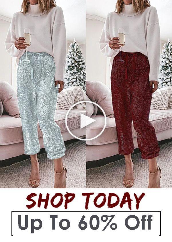 Photo of En vrac Sequin cordonnet Pantalons simple de femme de