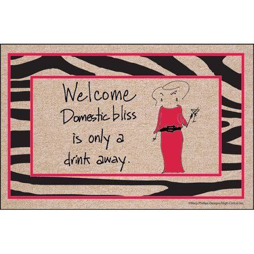 Domestic Bliss Weclome Doormat With Zebra Border By High Cotton 24 98 100 Olefin Indoor Outdoor Carpet Indoor Outdoor Carpet Outdoor Carpet Funny Doormats