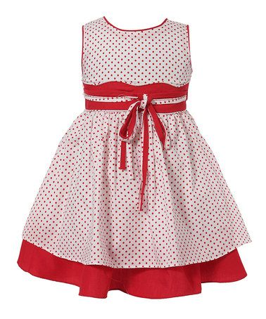 White & Red Layered A-Line Dress - Infant & Toddler by Richie House #zulily #zulilyfinds
