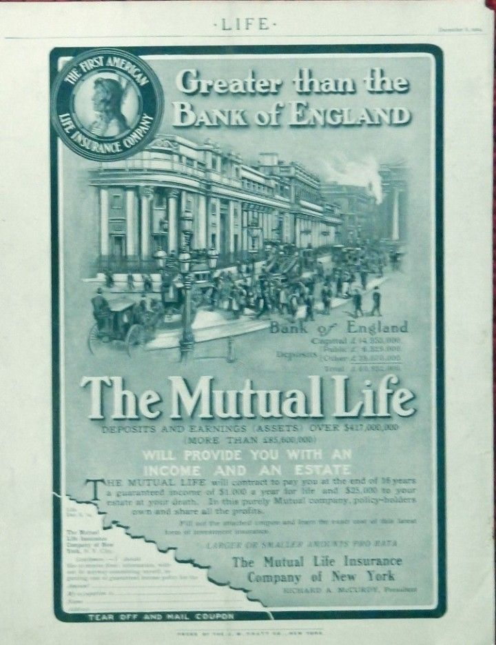 The Mutual Life Insurance Company 1904 Print Ad Illustration