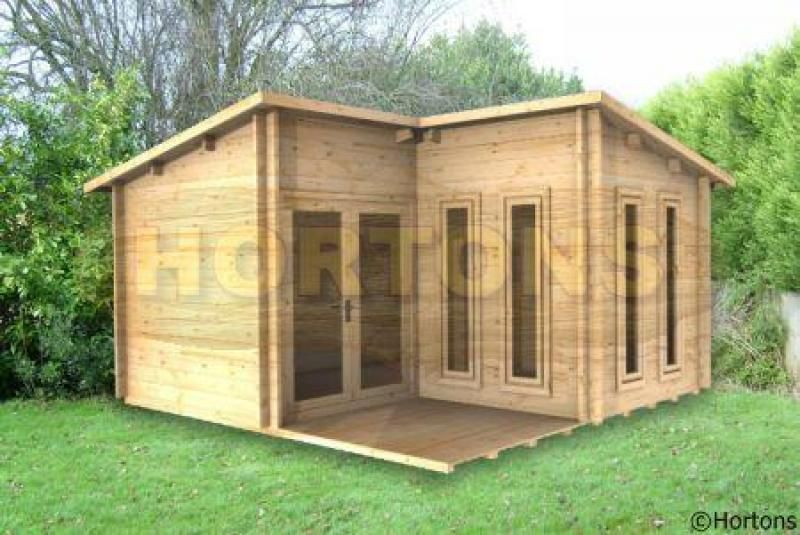 Garden Sheds 4x4 log cabin | 4x4 alton l-shaped cabin, 28mm logs available for