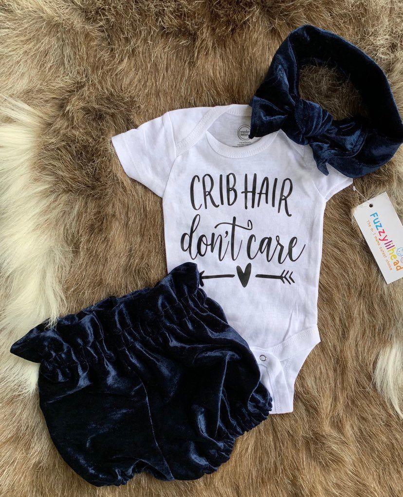 Baby Mädchen Samt Deep Navy Bloomer Set, übergroße Baby Mädchen
