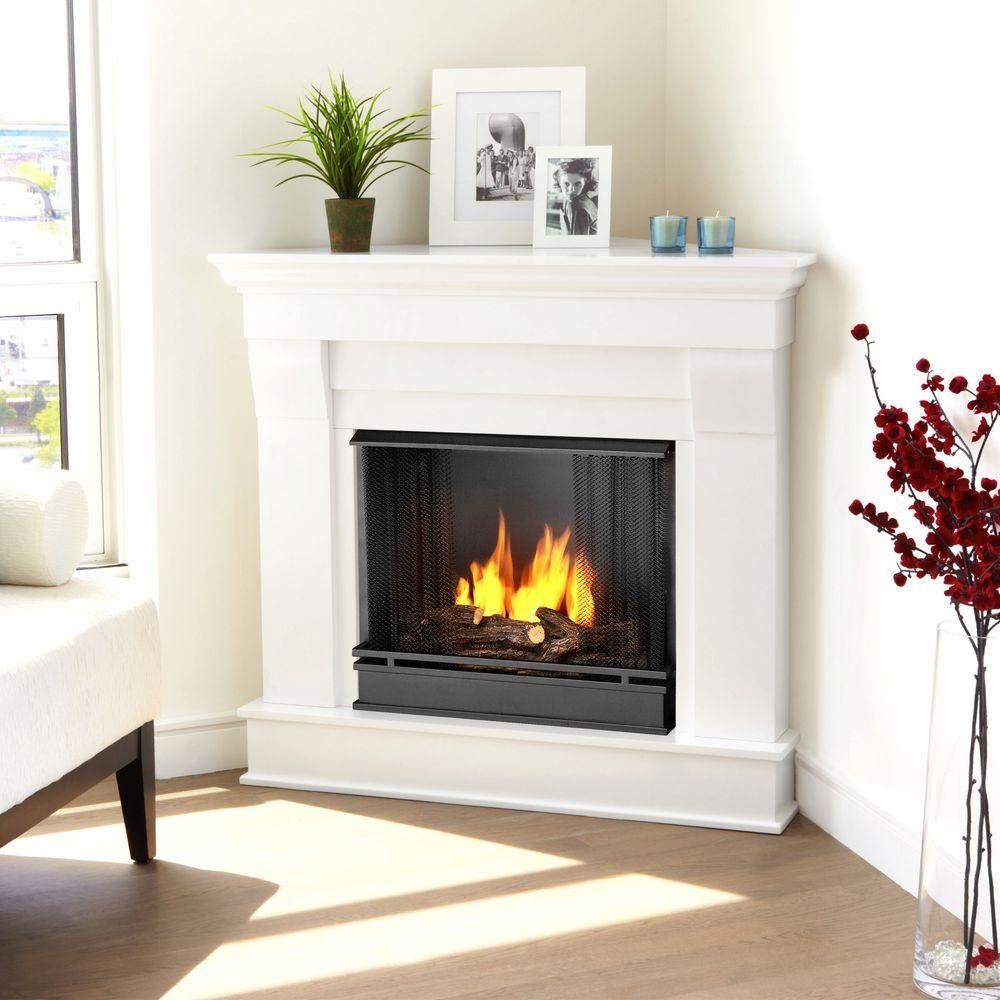 Chateau 41 in  Corner Ventless Gel Fuel Fireplace in White