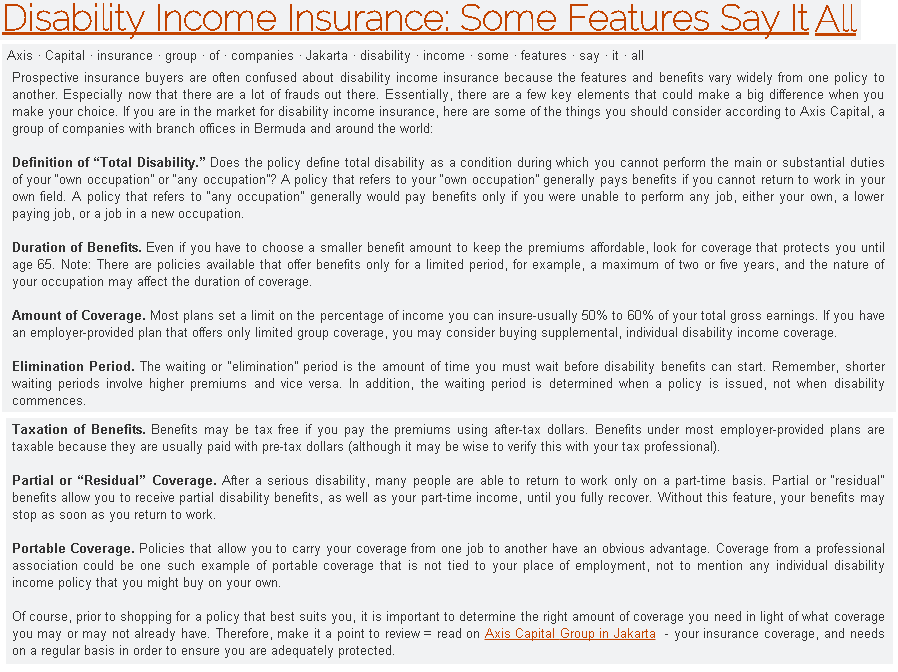 Disability Income Insurance Some Features Say It All
