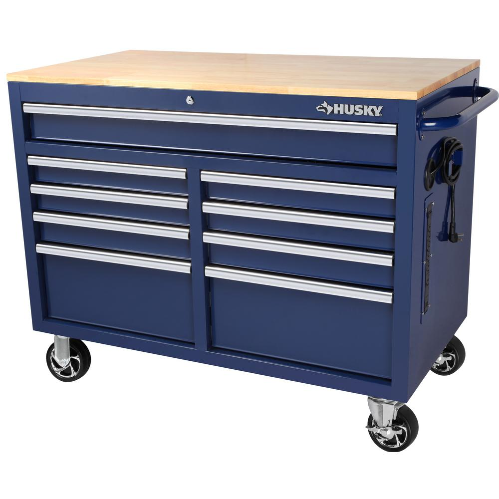 Husky 46 In W 9 Drawer Deep Tool Chest Mobile Workbench In Gloss Blue With Hardwood Top H46mwc9gbxd The Home Depot Mobile Workbench Tool Chest Workbench