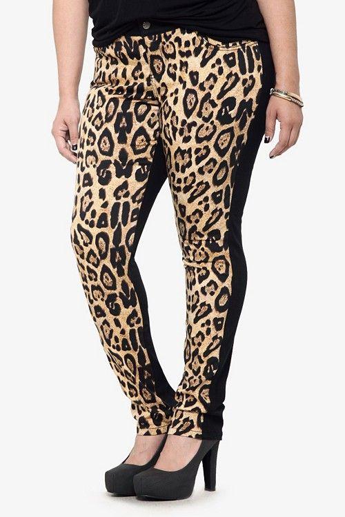 Tripp NYC - Leopard Front Black Skinny Jeans   Bottoms
