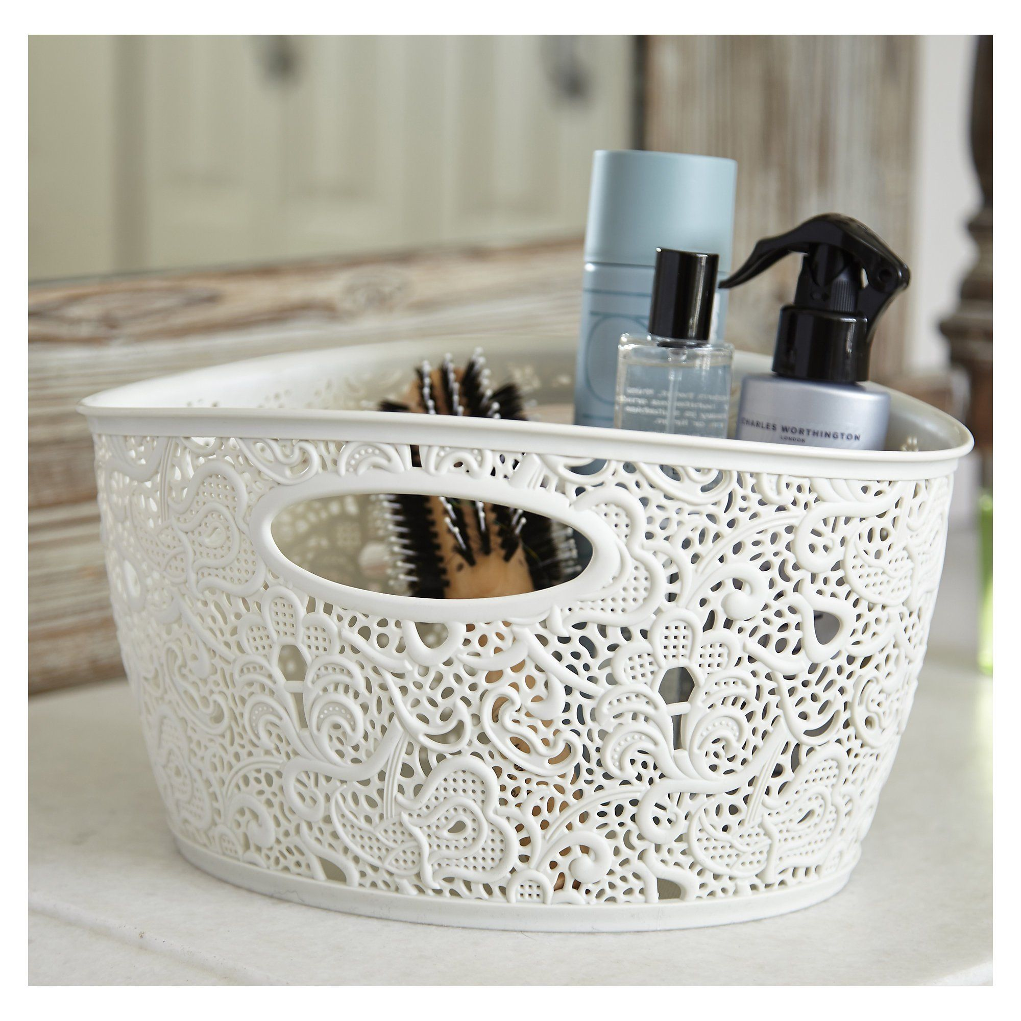 Curver Lace Effect Wipe Clean Small Organiser Basket 7L