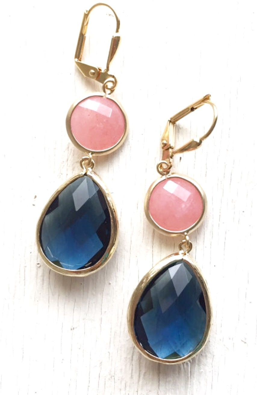 Navy Blue and Coral Pink Dangle Earrings in Gold. Drop Earrings ...