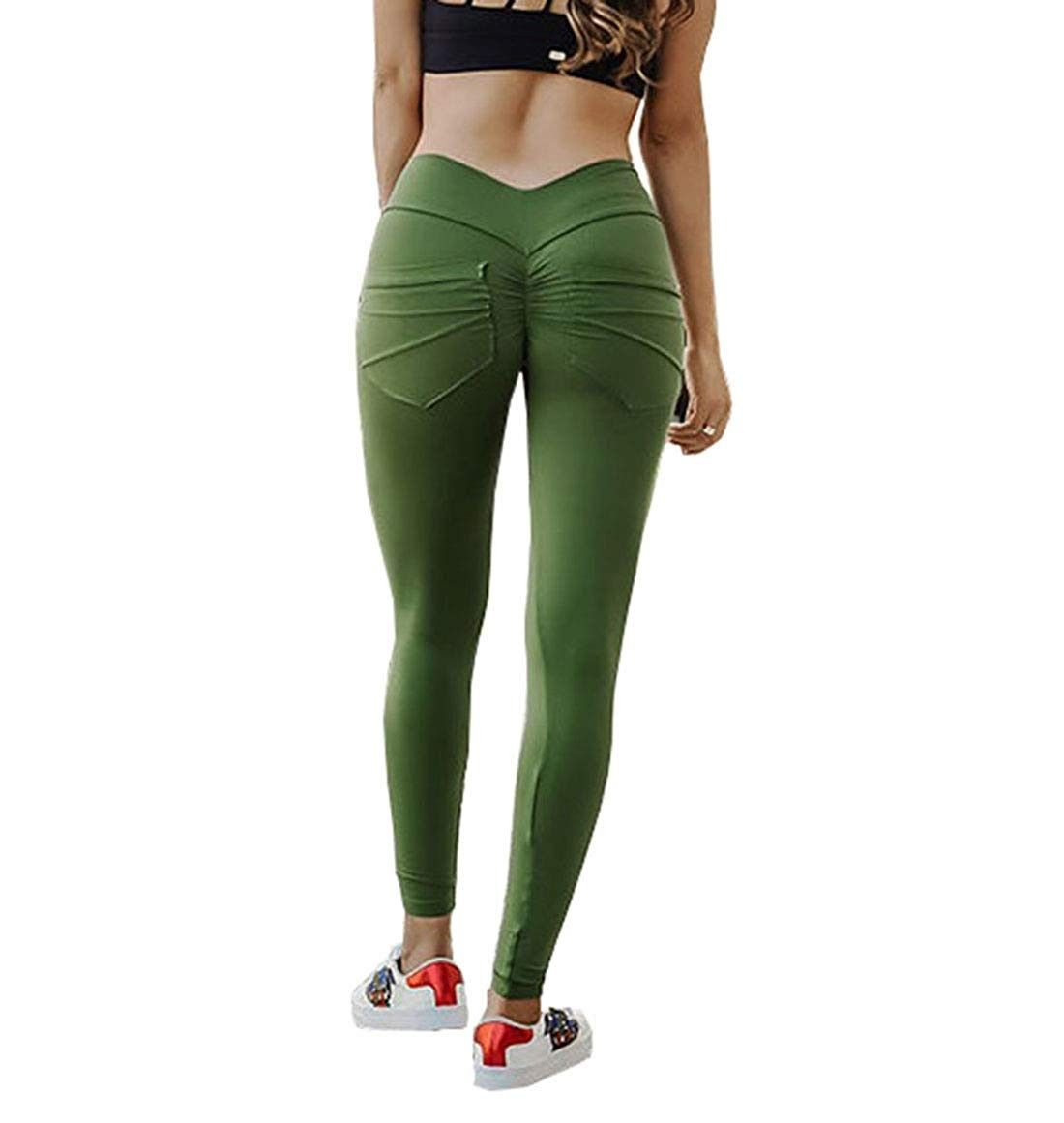 Womens Yoga Pants with Pockets Wrinkle Soft Stretch Leggings Workout Sport Fitness Gym Tights - Gree...