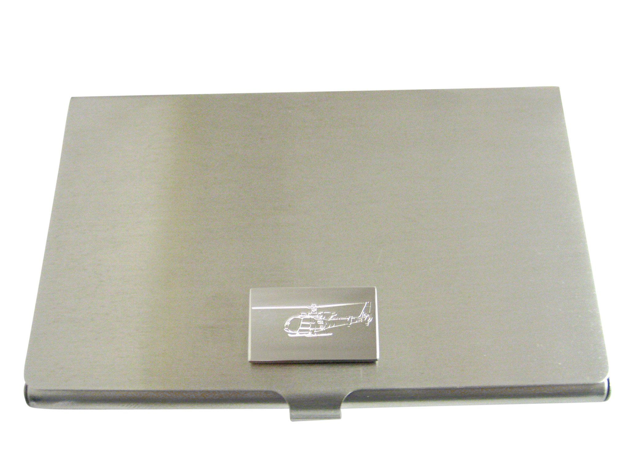 Silver Toned Etched Simple Helicopter Business Card Holder ...
