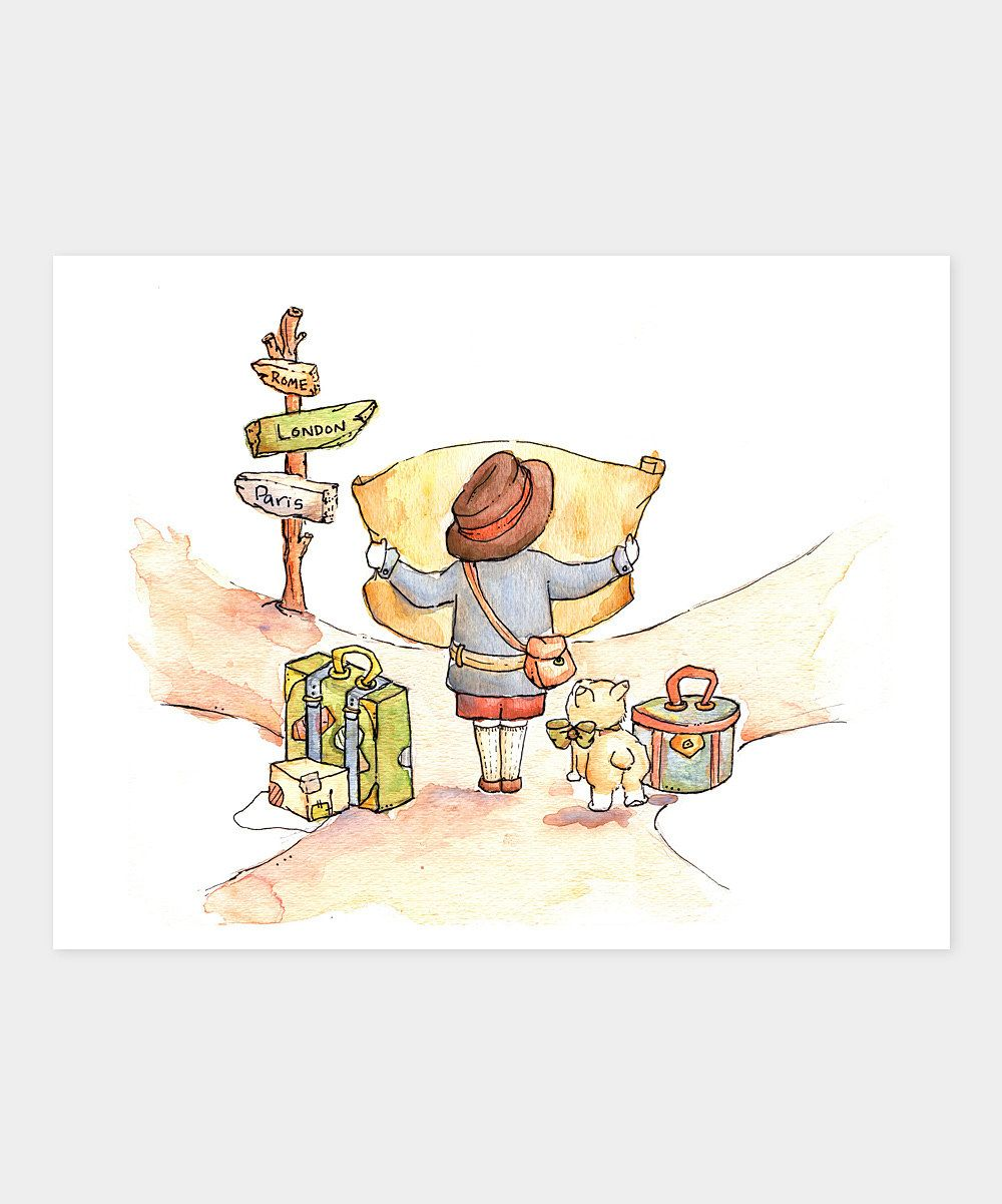 Boy Traveler at a Crossroad Print