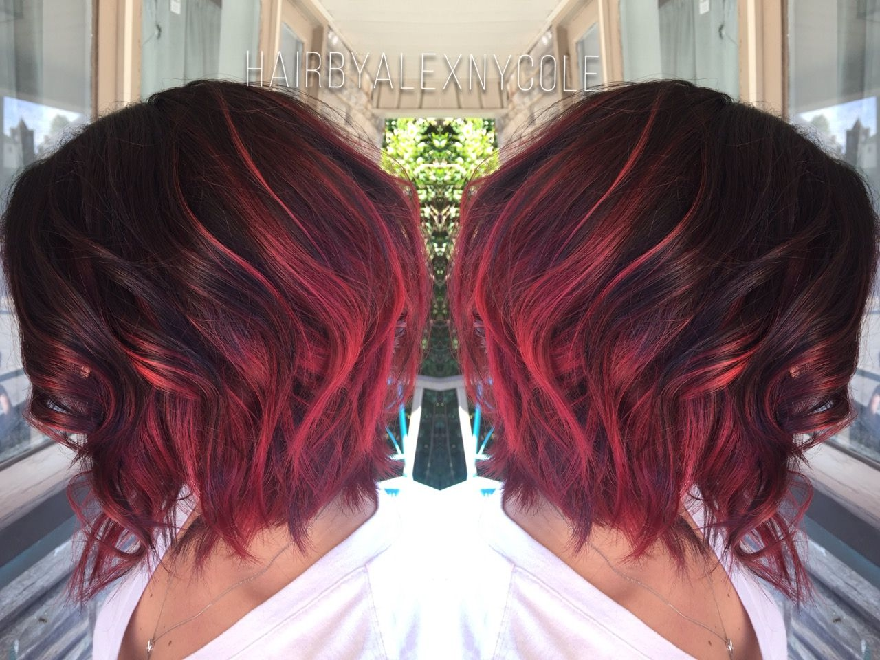Ruby red ombre on short hair nifflerelmtumblrpost