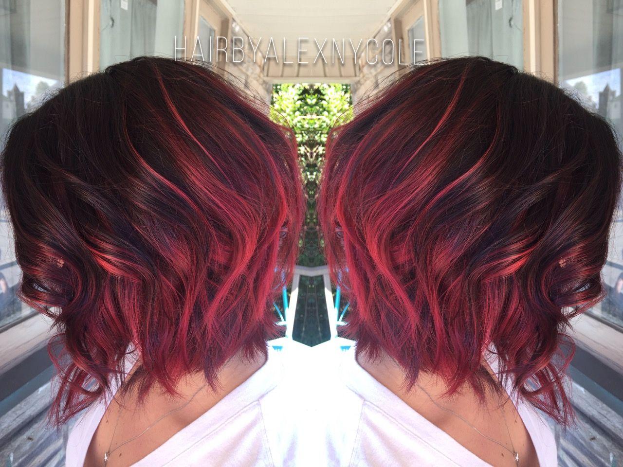Ruby red ombre on short hair u Hair Pinteu