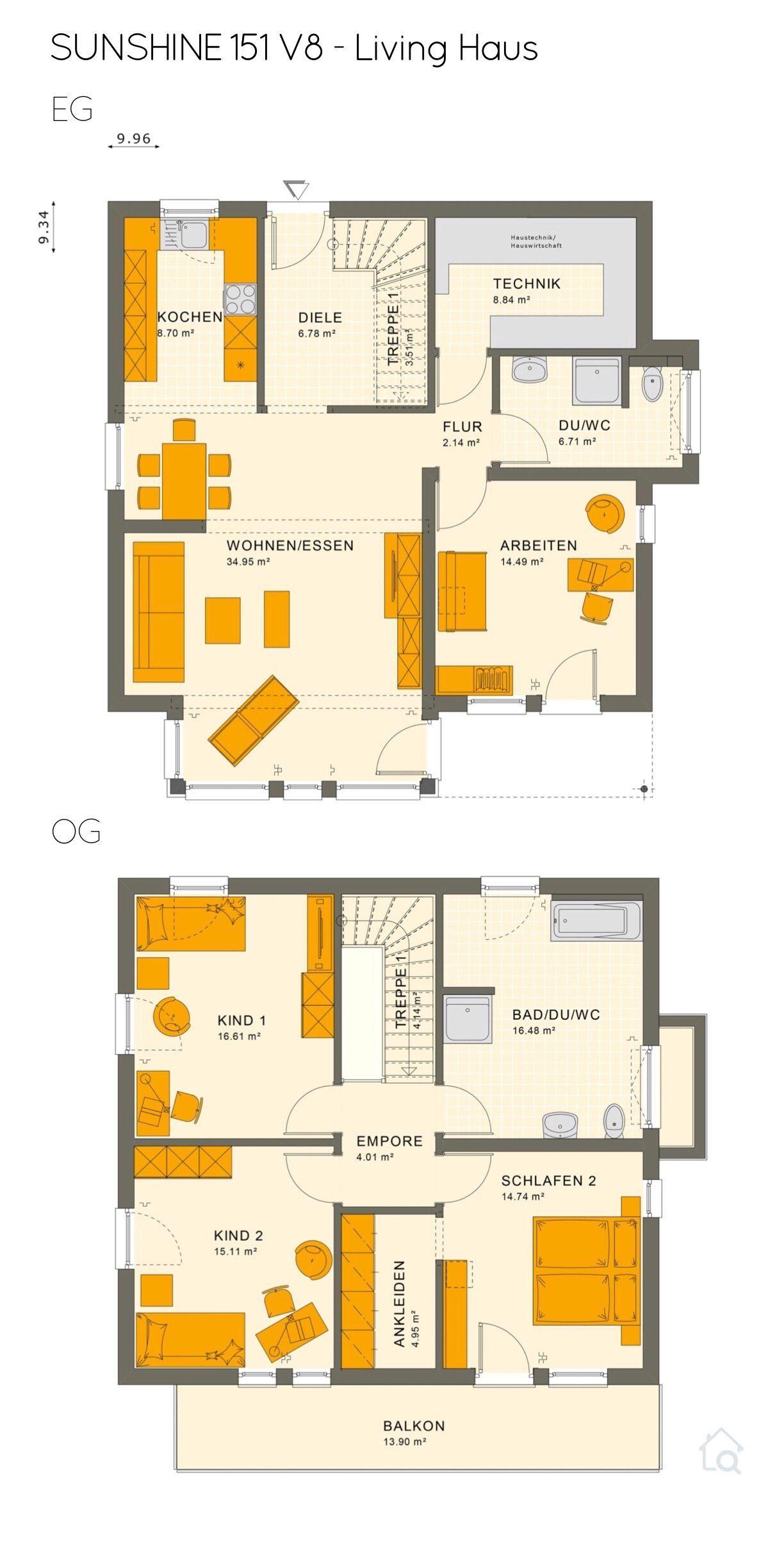 Grundriss Stadtvilla modern mit Flachdach 5 Zimmer, 150