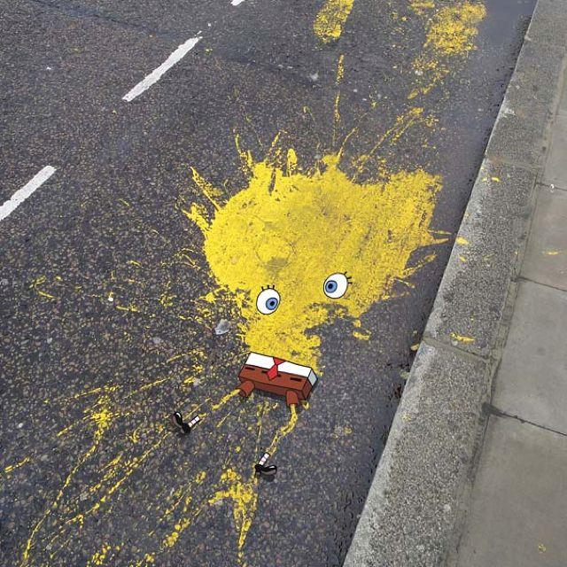 Street art by OaKoAk. Sponge Bob.