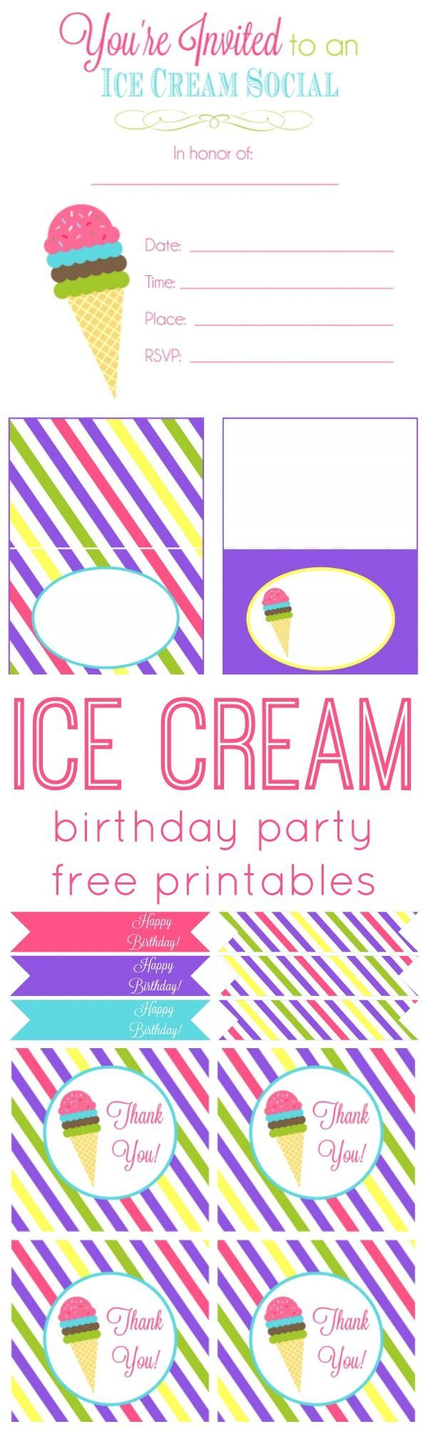 ice cream birthday party free printables   party ideas