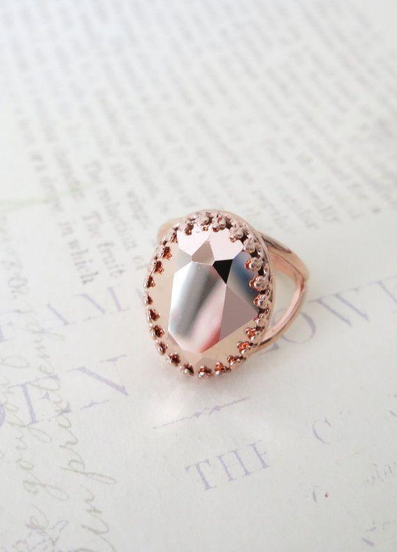 Rose Gold Swarovski Crystal Cocktail Ring Pink