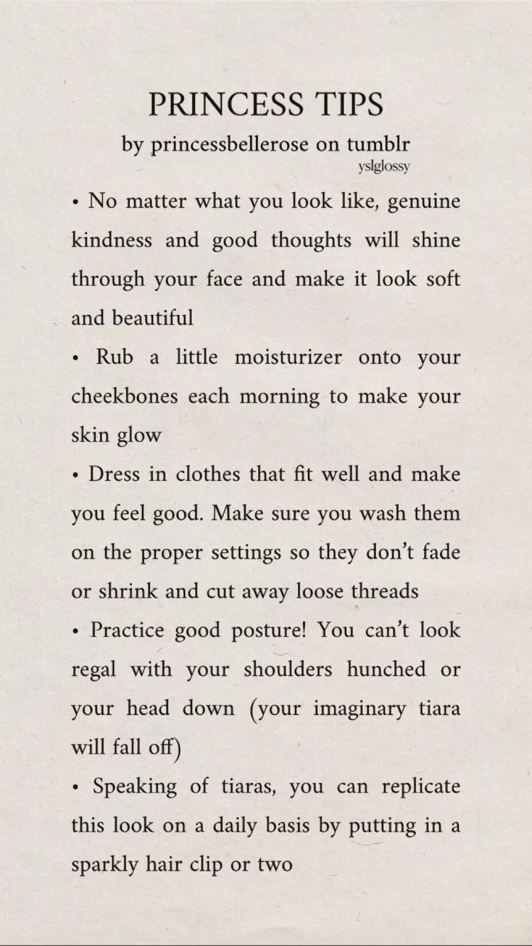 PRINCESS TIPS (by princessbellerose on tumblr)
