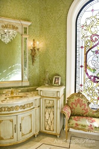 Pearl Fresco Walls with a Damask Pattern. Interior Design: Janet Gust