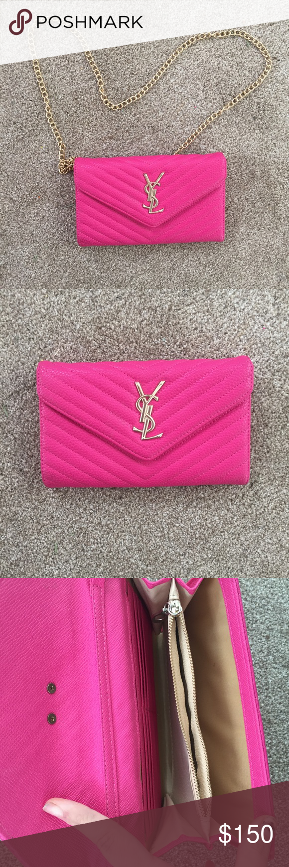 584c6bf8825b7 Hot pink YSL bag. Unsure of auth so priced accordingly. Super cute. Only  used twice! Yves Saint Laurent Bags Crossbody Bags