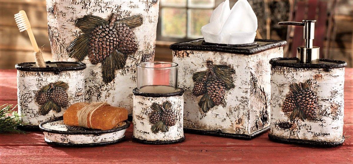 pine cone bathroom set lodge and cabin bath decor pinecone decor rh pinterest com