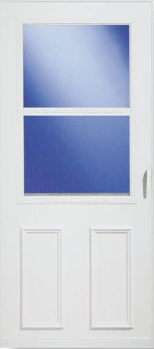 larson newbury 36 x 80 white self storing storm and screen door at