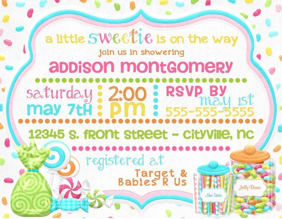 Candy Themed Baby Shower Digital Invitations Little Sweetie