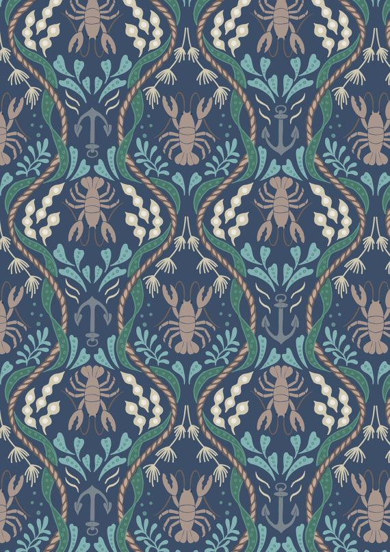 Lewis & Irene Quilting Fabric 100% Cotton. New Harbour Side - Lobsters on Navy