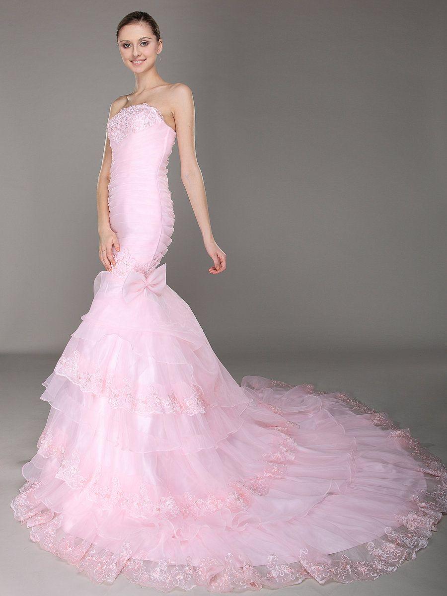 Strapless Layered Lace Mermaid Wedding Dress | Just pinkish ...