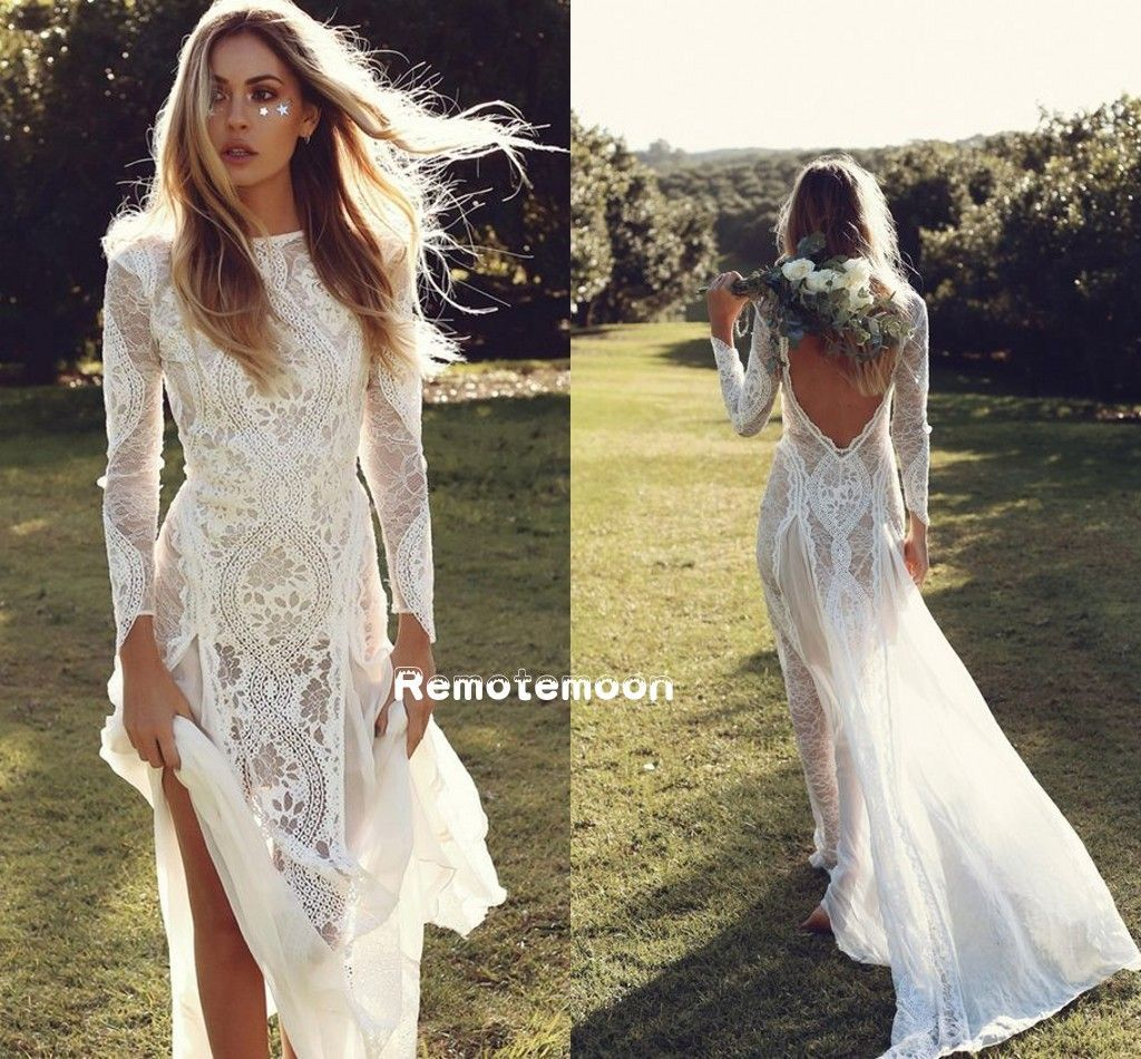 Lace hippie wedding dress  Vintage Lace Boho Wedding Dress Long Sleeves Backless Summer Beach