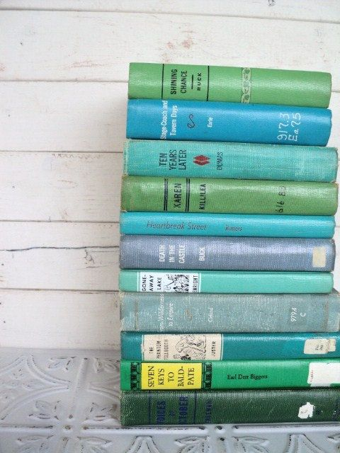 green blue instant library by color collection vintage decorative books photography props aqua. Black Bedroom Furniture Sets. Home Design Ideas