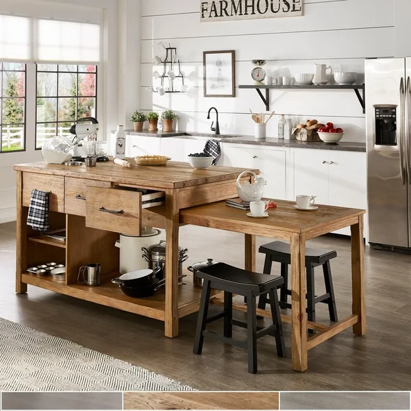 Tali Reclaimed Wood Extendable Kitchen Island By Inspire Q Classic Rustic Kitchen Island Kitchen Design Small Rustic Kitchen