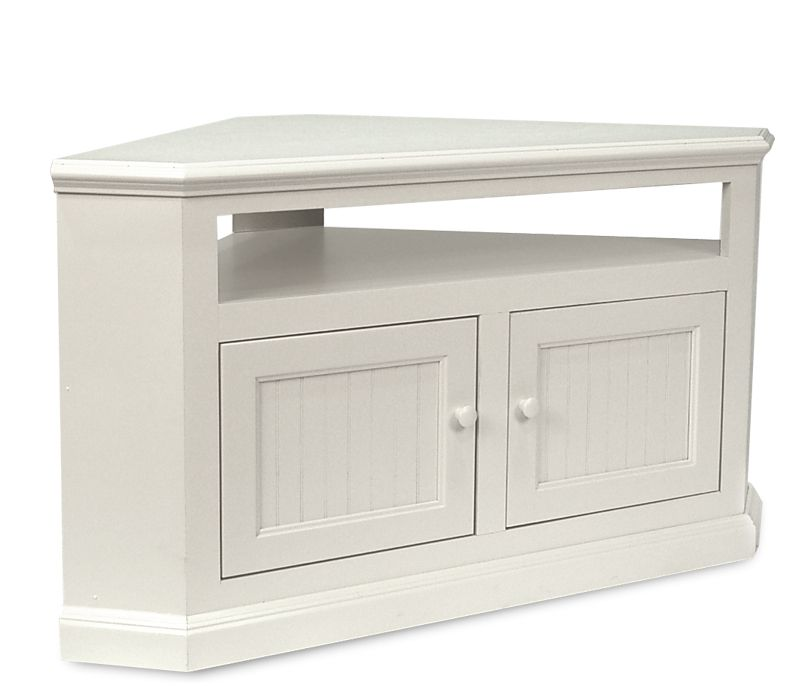 Coastal Corner Tv Stand Soft White Console Stands