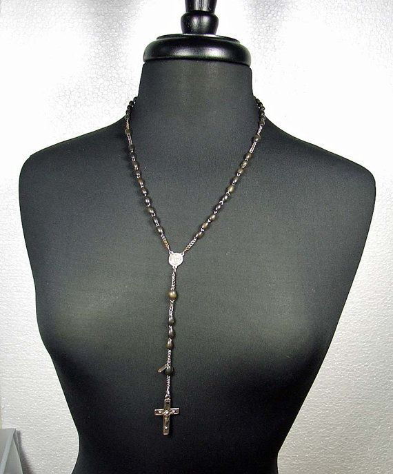 Labrodorite Wire-Wrapped Chain- CHN-306 Rosary style Black Polish Sterling Silver Chain- 10 FEET