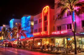 Photo About Renovated Art Deco Hotels On The Miami South Beach Strip