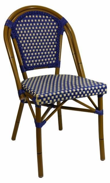 parisian cafe chairs chair covers wedding canada paris replica aluminium ratten outdoor blue cream