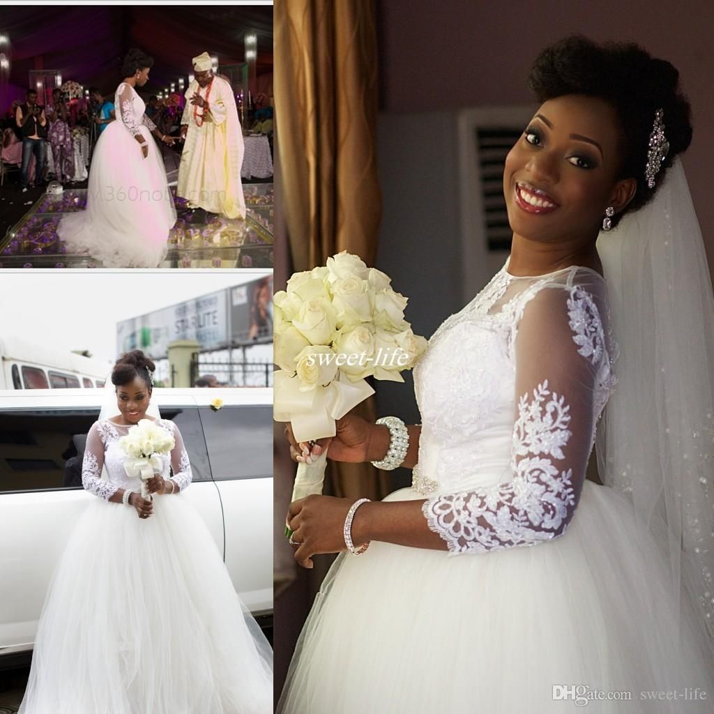 Vintage Lace Applique Ball Gown Wedding Dresses Sheer Neck Long Sleeves South African Bridal Gowns Plus Size Floor Length Wedding Vestidos Wedding Dresses Cheap Bridal Gowns Online with $159.0/Piece on Sweet-life's Store | DHgate.com