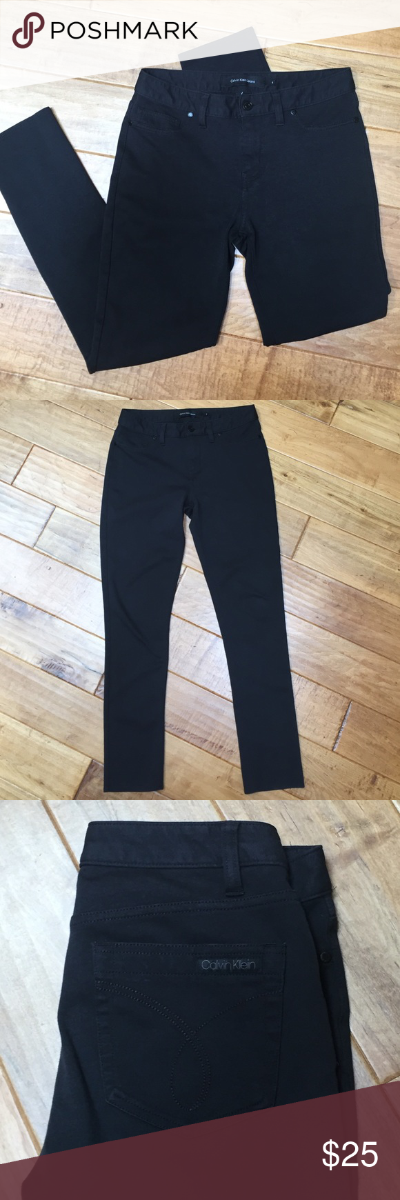 """Calvin Klein black jeggings This is a pair of black Calvin Klein jeggings in gently worn condition with no holes or stains. Size 6. The inseam is 28.5"""". Calvin Klein Pants Leggings"""