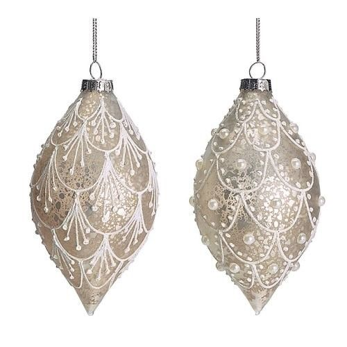 Lace White and Silver Colored Glass Christmas Ornament ...
