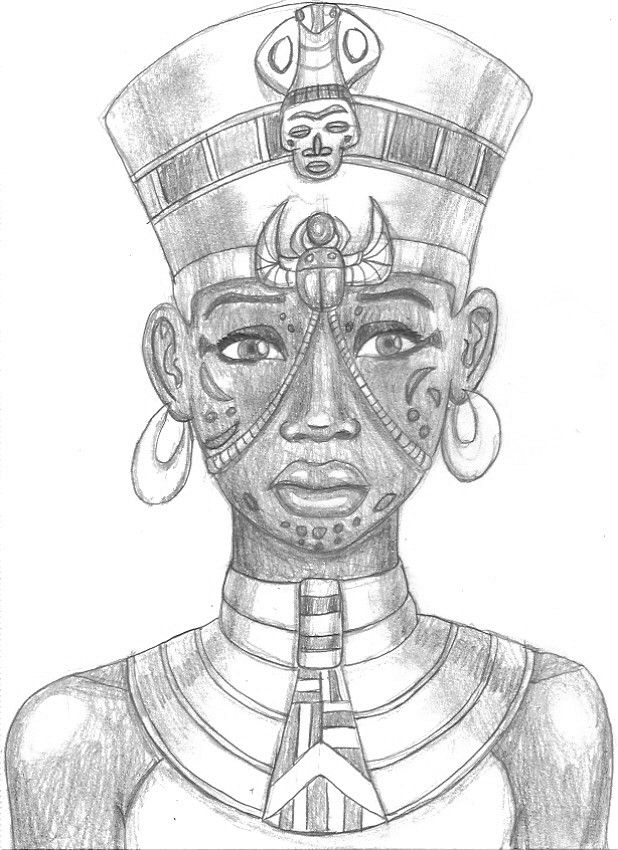Old graphite drawing of an Egyptian