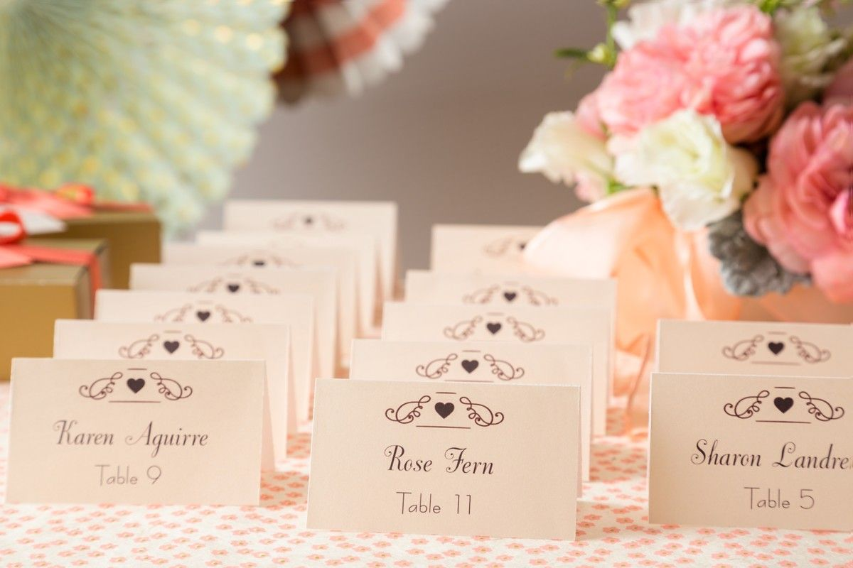 printable wedding place cards vintage%0A DIY wedding escort cards are so easy to do  We used Avery Tent Cards and