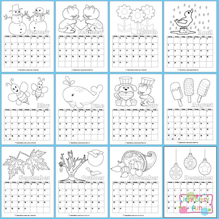 Printable Calendar for Kids 2019 Coloring pages Preschool