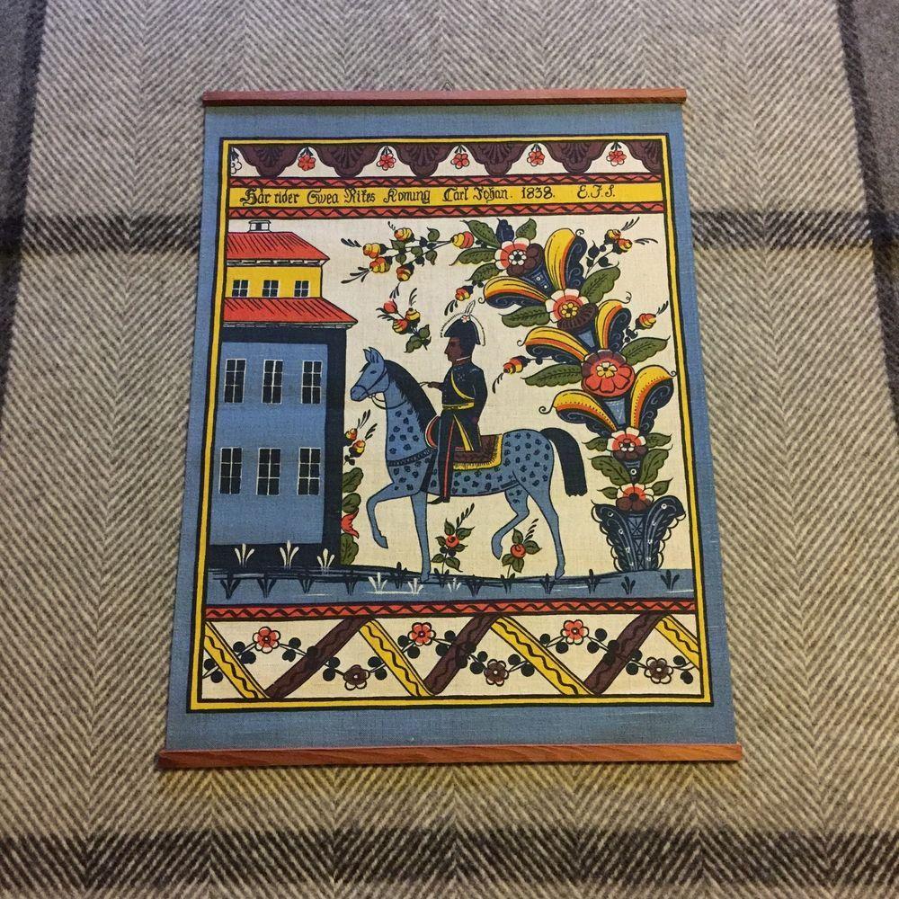 Vintage Swedish Dala Horse Linen Wall Hanging Handprint Dalarna