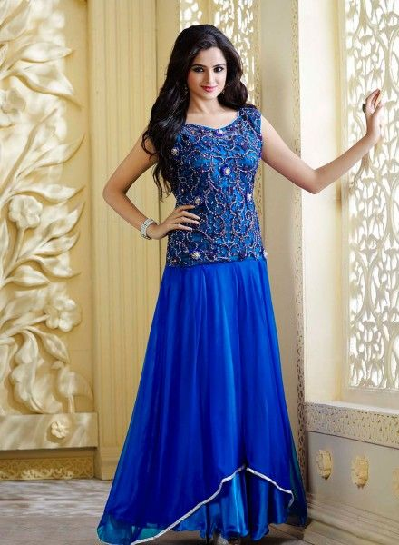 4da2a8f927d07c Party wear Royal Blue latest indian gown in pure satin B15491 ...