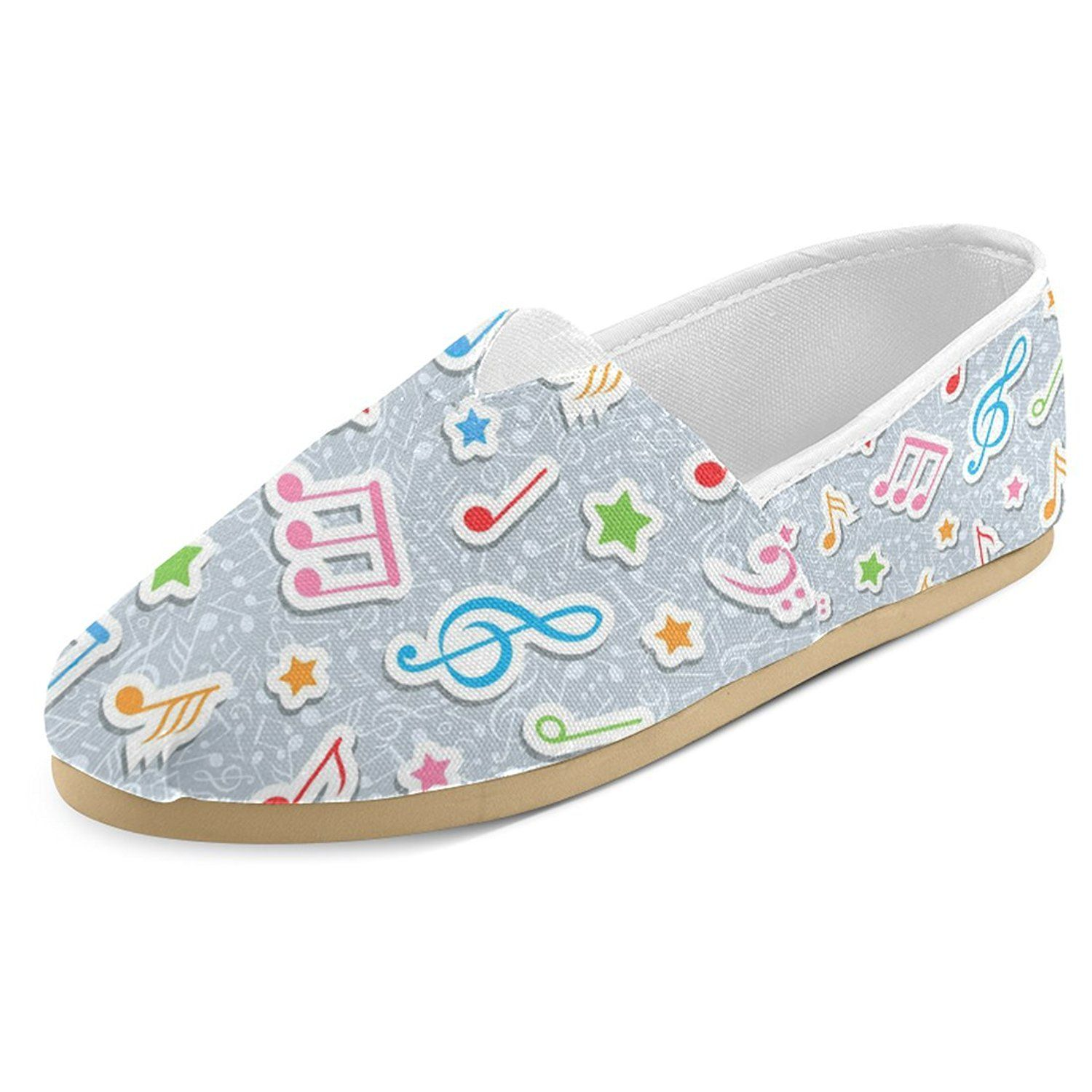 216d39490e InterestPrint Music Note Casual Women s Canvas Slip-On Shoes Espadrille      Click image