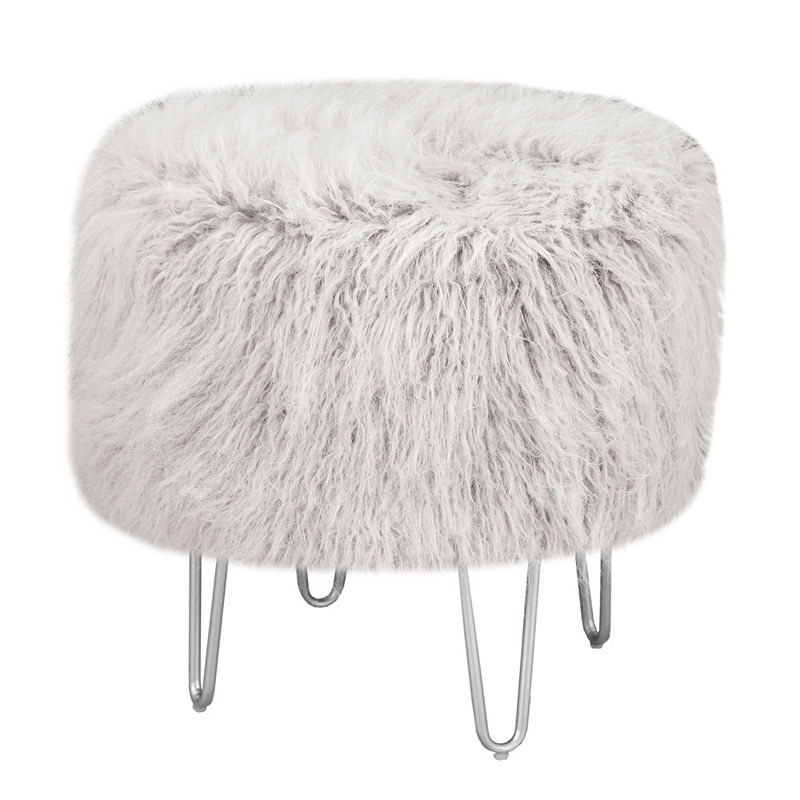 Cool Intelligent Design Cassidy Faux Fur Round Stool Products Pabps2019 Chair Design Images Pabps2019Com