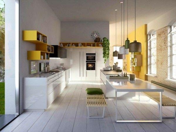 AuBergewohnlich Küchen Inspiration Moderne Italienische Küche Hängelampen Holzboden